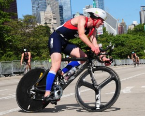 Triathlete cycling in Chicago Triathlon Championships