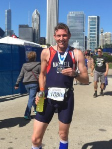 Triathlete with medal at end of race in Chicago