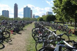 Bike racks set up for the Chicago Triathlon Championships
