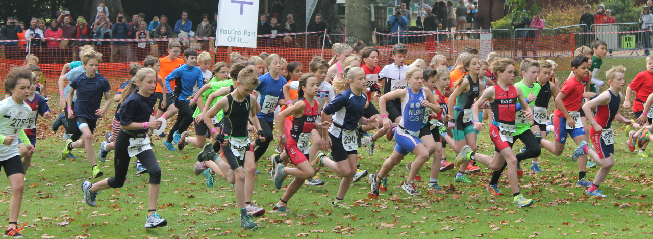 Children running in a Triathlon race