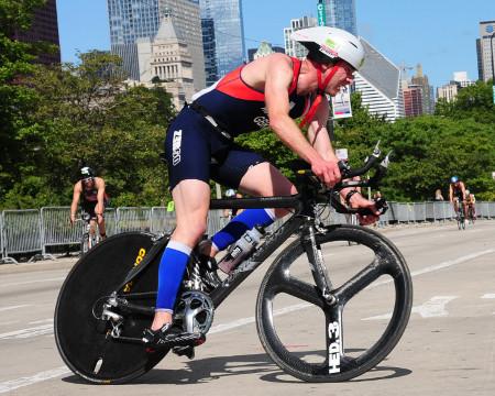 Triathlete cycling in Chicago Triathlon Championships