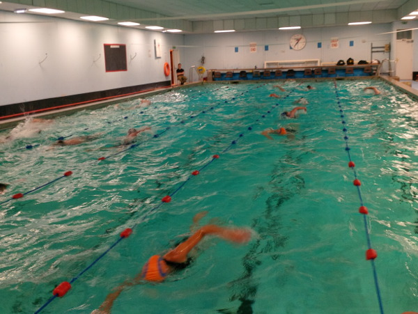 Swimmers swimming in an indoor pool